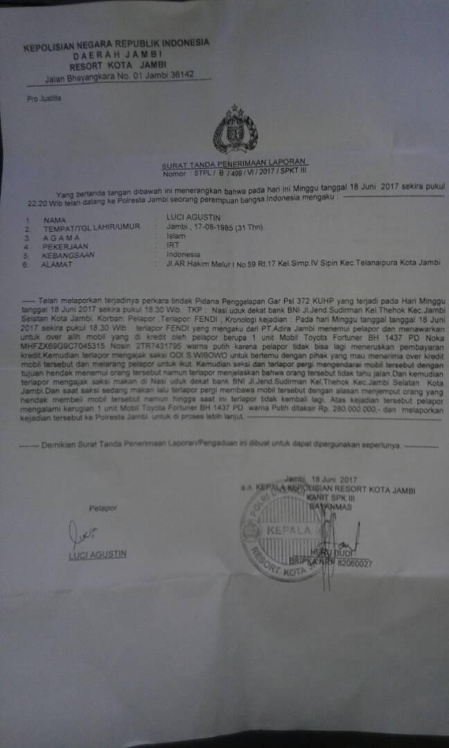 Permalink ke Kolektor Lising di Jambi Dilaporkan ke Polisi