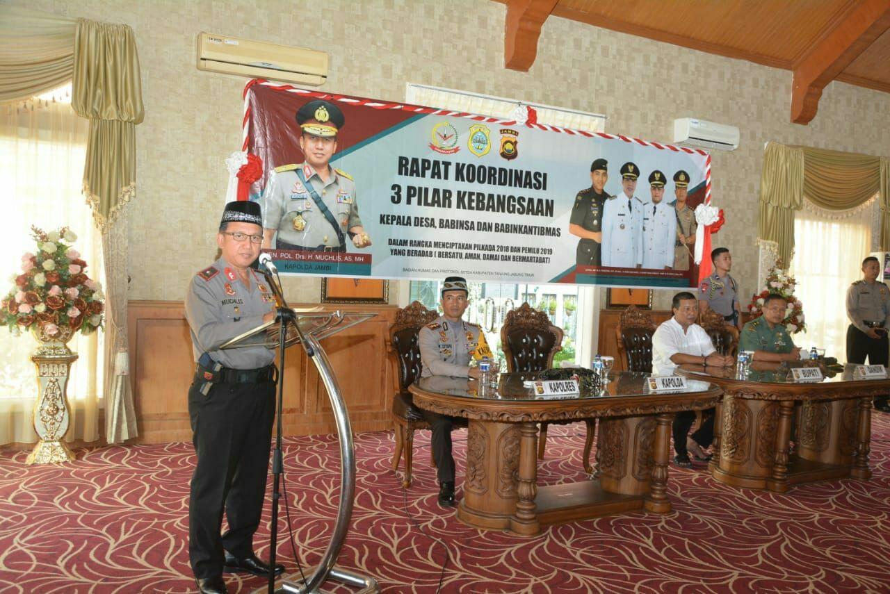Permalink ke Hadiri Rapat Koordinasi 3 Pilar Kebangsaan di Aula Rumah dinas Bupati Tanjung Jabung Timur. Ini Yang Disampaikan Kapolda