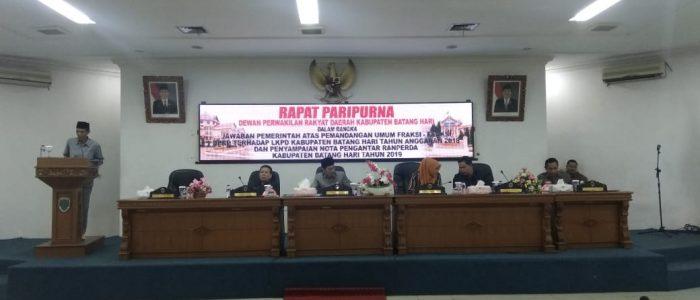 Penyampaian Jawaban Pemerintah Atas Pemandangan Umum Fraksi-Fraksi DPRD Terhadap LKPD Diparipurnakan DPRD Batanghari