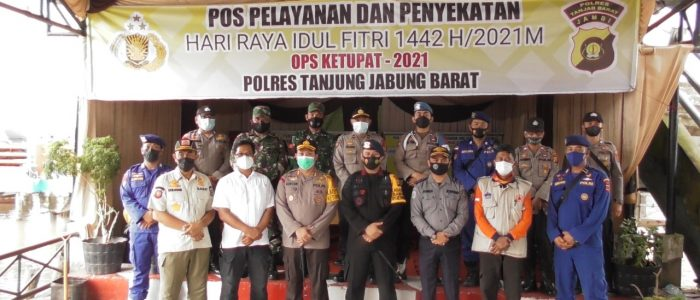 Lakukan Pengawasan, Polres Tanjab Barat bersama PJU Polda Jambi Cek Langsung Posyan LLASDP Ops Ketupat 2021