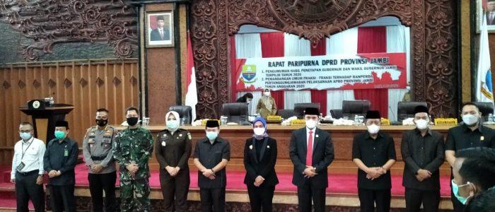 Gelar Paripurna, DPRD Provinsi Jambi Umumkan Haris-Sani Gubernur dan Wakil Gubernur Jambi
