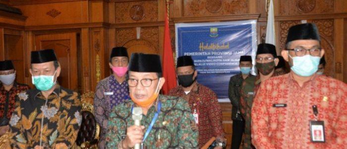 Gubernur Jambi Halal Bi Halal Virtual dengan Bupati dan Wali Kota